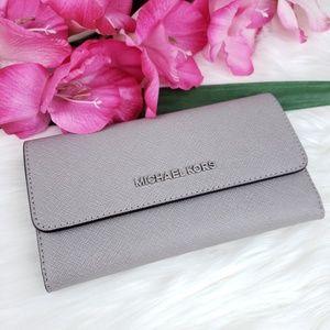 🌺NWT Michael Kors LG Trifold Wallet Pearl Grey MK